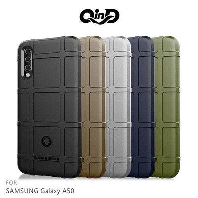 【愛瘋潮】QinD SAMSUNG A50 戰術護盾保護套 背蓋 TPU套 手機殼 保護殼 鏡頭保護