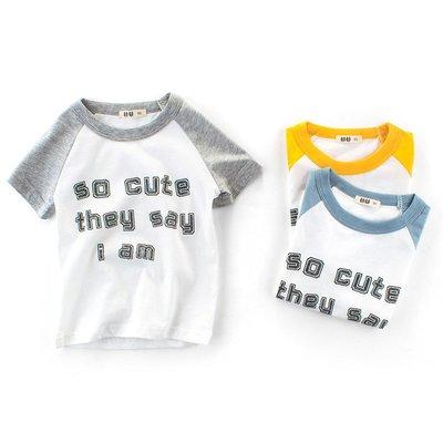 夏季新款 韓版男童圓領字母拼袖T恤上衣