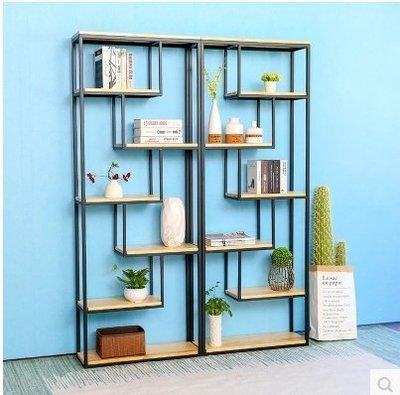 『格倫雅』鐵藝實木儲物架簡易置物架展示架落地層架書架客廳隔斷創意架^9763
