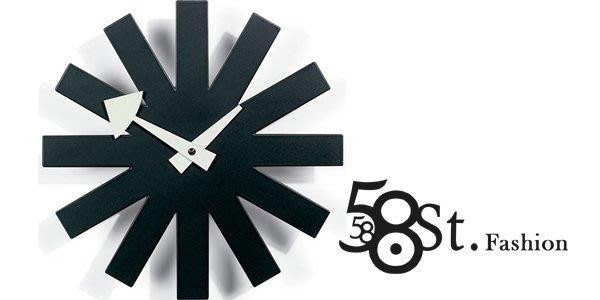 【58街】設計師款式經典鐘「Asterisk Clock 掛鍾,靜音」複刻版。AB-079