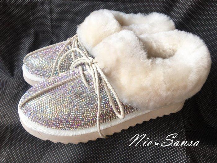 Nie Sansa  現貨特價39號  綁帶造型全鑽大圈絨毛短雪靴/短靴/踝靴