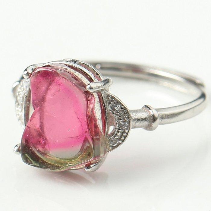水晶天然冰種體西瓜碧璽戒指 女款 隨形原礦 S925銀戒托飾品