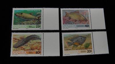 【大三元】非洲郵票-21-108那米比亞-魚類---新票4全1套-原膠