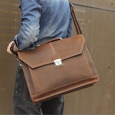 手提 包 真皮公事包-棕色瘋馬皮15.6吋男包包73ur7[獨家進口][米蘭精品]