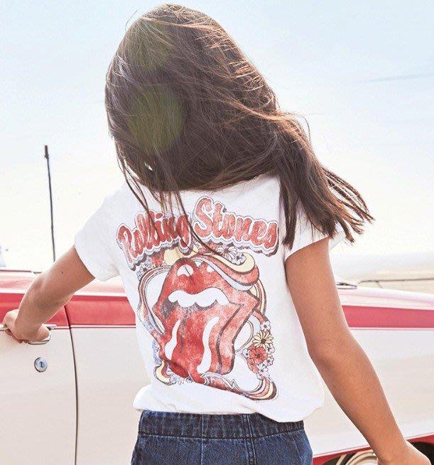 小確幸衣童館KT542 歐美款中大童The Rolling Stones前後圖白色印花短袖搖滾T 亮片紅唇ROCK風