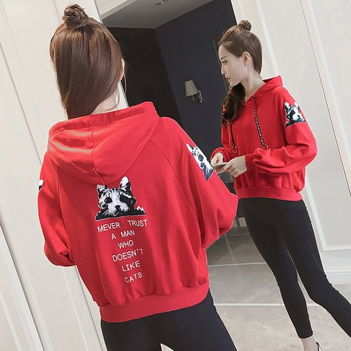 T恤  學生 短袖 韓系 大碼 寬鬆 中長款字母印花衛衣女  原宿風寬松顯瘦連帽長袖上衣外