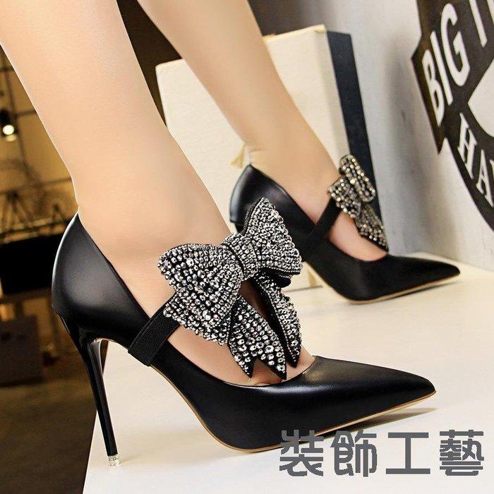 1717-9韓版優雅高跟鞋女鞋超高跟淺口尖頭一字帶水鉆蝴蝶結單鞋