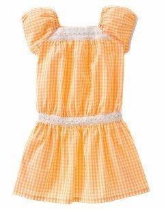(((撿便宜出清))) 美國 GYMBOREE 粉橘色格紋 雛菊 洋裝式 長版上衣 (10yrs)