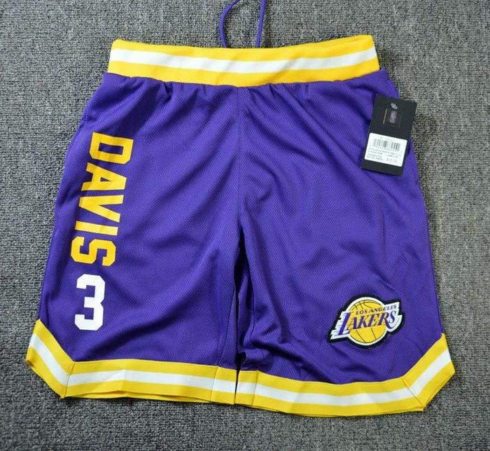 NBA籃球青年短褲 洛杉磯湖人隊  DAVIS 口袋版 運動籃球褲 紫色 正版