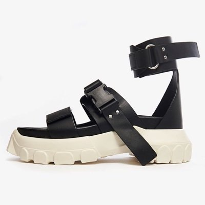 R'代購 Rick Owens Leather Ankle Strap Sandal Tractor 黑白 涼鞋