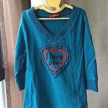 《寶兒花園》土耳其藍彈性合身V領愛心七分袖短版上衣