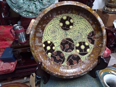台灣材燒彩繪盤/直徑22公分重量1公斤...
