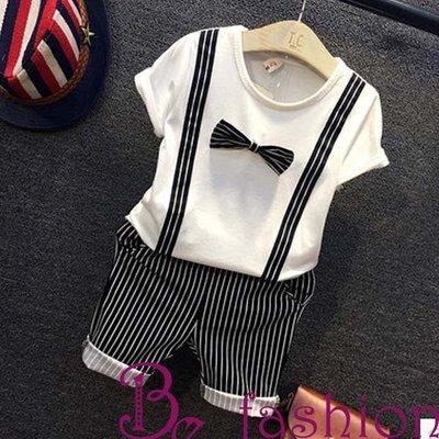 現貨--韓版男童套裝 英倫條紋兒童短袖T恤+條短褲兩件套 Be Fashion 17126023