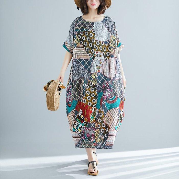 100公斤胖MM文藝范復古花色套頭棉麻短袖連衣裙夏裝新款女長裙