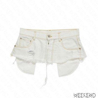 【WEEKEND】 UNRAVEL Baggy 破壞 切割 口袋外露 不修邊 寬版 牛仔 腰帶 腰封 白色 19春夏