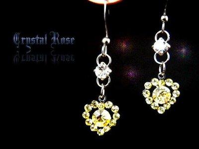 ※水晶玫瑰※ 水晶鑽 耳勾式耳環(DD405)~三件免郵