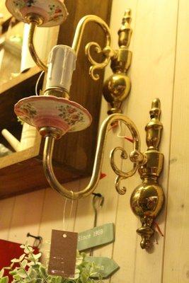 ZAKKA糖果臘腸鄉村雜貨坊    懷舊古物類.陶瓷銅質壁燈.蠟燭造型壁燈(歐洲老件燈具造景蠟燭攝影道具佈景背景會場百貨