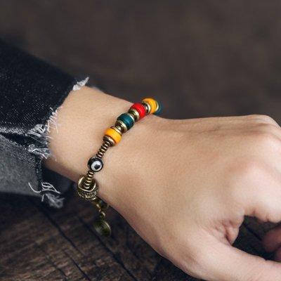 CHIC U 手作飾品原創設計糖果色琉璃珠復古混搭銅珠手串女潮人個性百搭手鏈