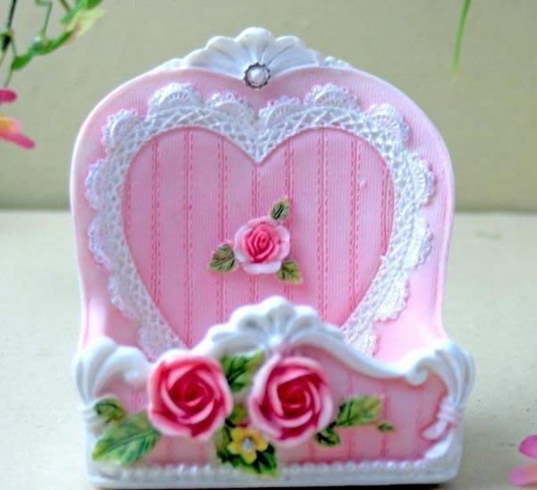 粉紅玫瑰精品屋~歐式田園家居擺設 唯美樹脂手機座~現貨