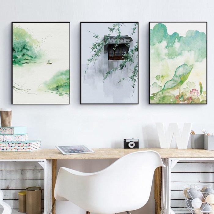 新中式現代荷韻花卉荷花水墨畫微噴裝飾畫畫芯客廳餐廳(3款可選)