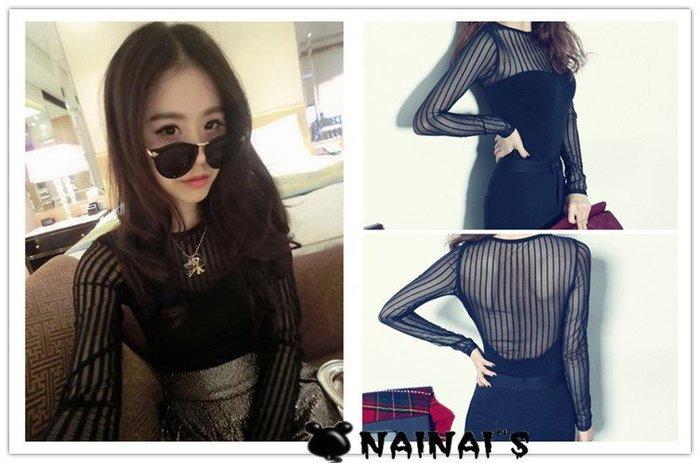 【NAINAIS】RZ 7619 韓版 韓國官網款 美背美胸性感透視網紗拼接長袖T恤上衣 S-L【預】