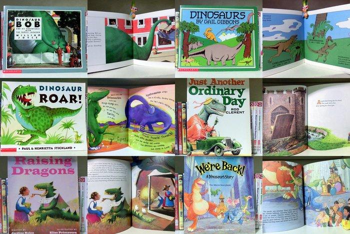 *【兒童英語繪本】*小pen外文~~有關恐龍5本有趣繪本+Q版小龍1本