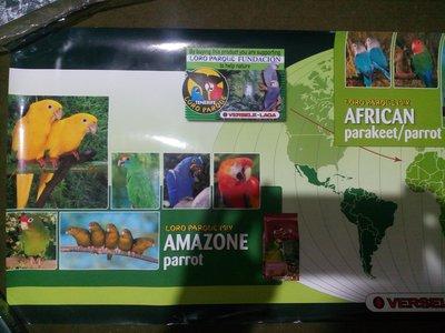 飼料大廠Versele-Laga 鸚鵡海報。主旨在提倡產品將資助鸚鵡復健計畫Loro Parque 橫式34X100cm