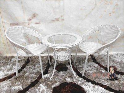 陽台桌椅 戶外藤椅茶幾三件套客廳臥室陽台休閒鐵藝藤編桌椅圓桌五件套組合T 6色免運【友誼之家