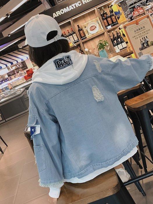 假兩件牛仔衣女春季2019新款韓版衛衣拼接撕破時髦百搭牛仔外套潮《桃子雜貨鋪