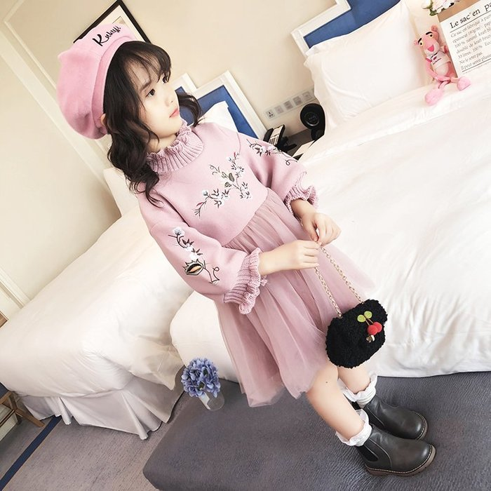 原創童裝女童冬裝連衣裙2019新款韓版洋氣小女孩裙子兒童公主裙