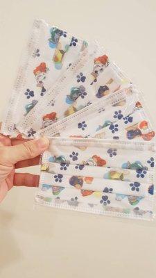 單片獨立包裝  幼幼口罩1-3歲 汪汪隊單片 平面三層口罩 卡通口罩