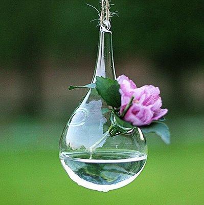 ~喵喵的小窩~懸掛式玻璃水滴型吊球小花瓶 水培插花 家居裝飾