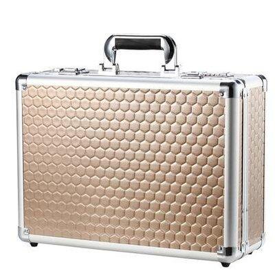 【優上】手提箱文件箱鋁合金工具箱密碼箱保險箱 展示箱化妝箱密碼鎖箱子「土豪金」