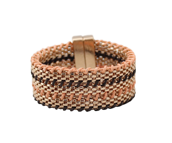 [C.M.平價精品館]現貨出清特價/別緻有型不同材質編織強力磁鐵易戴易取下個性手環/手鐲