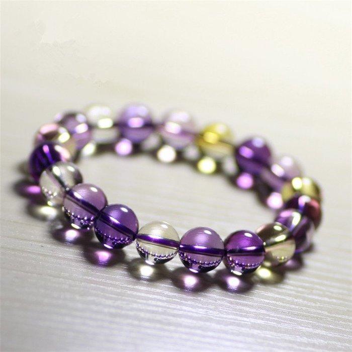 【瘋瘋瘋】水晶紫黃晶手串批發多規格飾品手鏈爆款熱銷韓版韓式