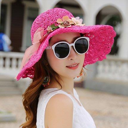 福福百貨~草帽夏天海邊遮陽帽韓版太陽帽防紫外線可折疊防曬大沿沙灘帽子~