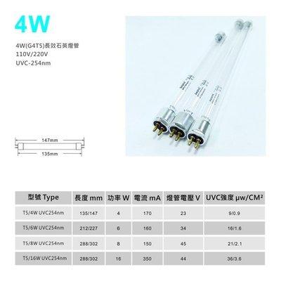 (缺貨中)4W-UVC254-石英長效紫外線殺菌燈管G4T5 (殺菌器通用)/ 另有6W.8W.16W 彰化縣