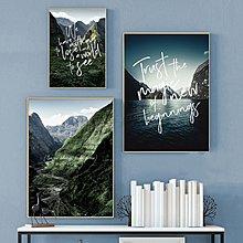 現代簡約北歐山脈河流風景裝飾畫畫芯客廳微噴掛畫無框畫心布(不含框)