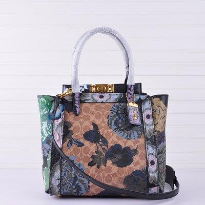 【八妹精品】COACH 78460 新款花紋拼色女包 手提包 單肩背包 斜跨包 側背包 女包