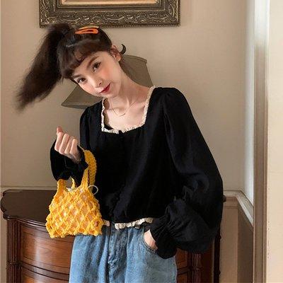 短袖雪紡衫 甜美 小香風 復古法式泡泡袖木耳邊方領修身顯瘦短款長袖 雪紡衫 女