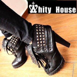=WHITY=韓國FUPA品牌 韓國製 鳥仔腳長腿白皙時尚高跟踝靴 兩穿式推薦 S3IH713