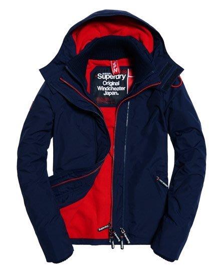跩狗嚴選 極度乾燥 Superdry Arctic 經典款 三排拉鍊 連帽 風衣 外套 刷毛保暖 深藍 紅