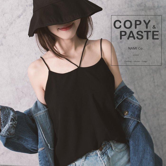 Copy&Paste【C10】韓國訂單.歐美小性感V型交叉露背細肩帶背心小可愛雙層雪紡上衣 (現貨)