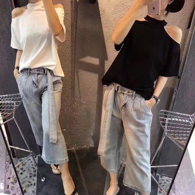 ❤Princess x Shop❤春夏新款寬鬆短袖性感露肩上衣T恤一字領正韓國連線【DT804235】