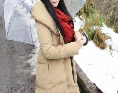 日韓 翻領羽絨外套大衣長版羊羔絨保暖顯瘦防風升溫福利品日韓連線實拍