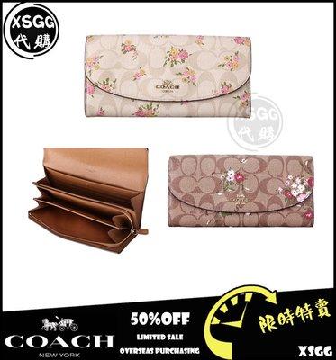 COACH 31779 新款 女士 長夾 信封錢包 花朵款 PVC防刮