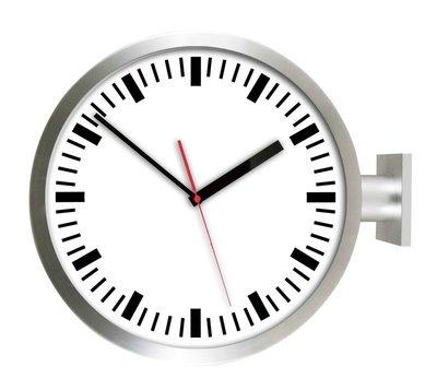 [On Loft]-double sided clock 歐洲雙面鐘 高鐵 車站鐘 設計旅店咖啡店-15寸銀色刻度+數字