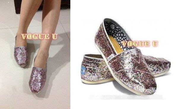 ☆VOGUE U☆美國TOM'S正品~亮片 粉色迷炫彩光系帆布鞋 懶人鞋 芭蕾舞鞋(特價) 【B0176T】