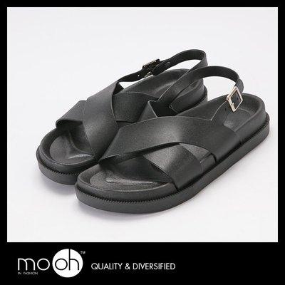 交叉柔軟防水搭扣厚底涼鞋 mo.oh (歐美鞋款)
