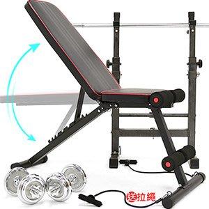多角度可調整仰臥起坐板送彈力繩舉重量訓練機啞鈴椅拉力繩舉重床舉重椅臥推椅健腹機健腹器拉繩B002-1203【推薦+】